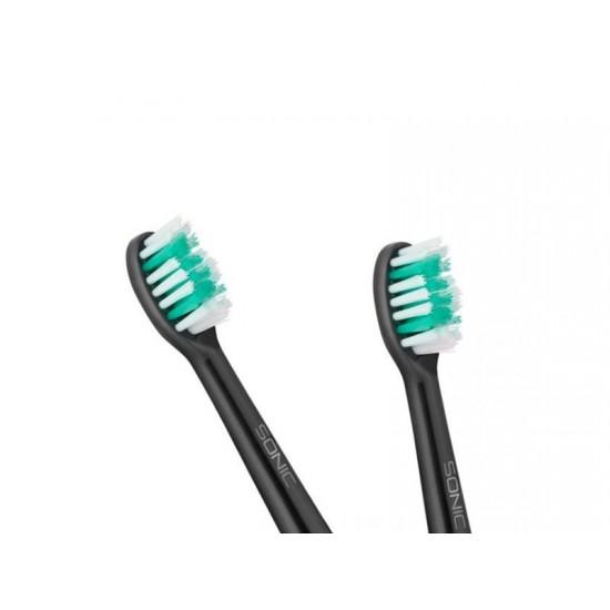 Hlavica pre zubné kefky TEESA SONIC čierna 2ks v blistri, stredná