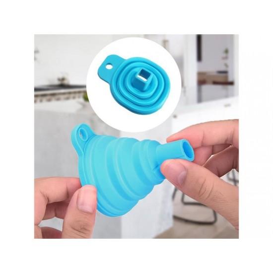 Lievik skladací 4L silikónový modrý