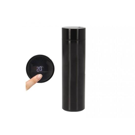 Termoska ORION s teplomerom čierna