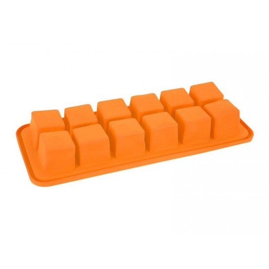 Forma na ľad ORION Kocky silikón oranžová