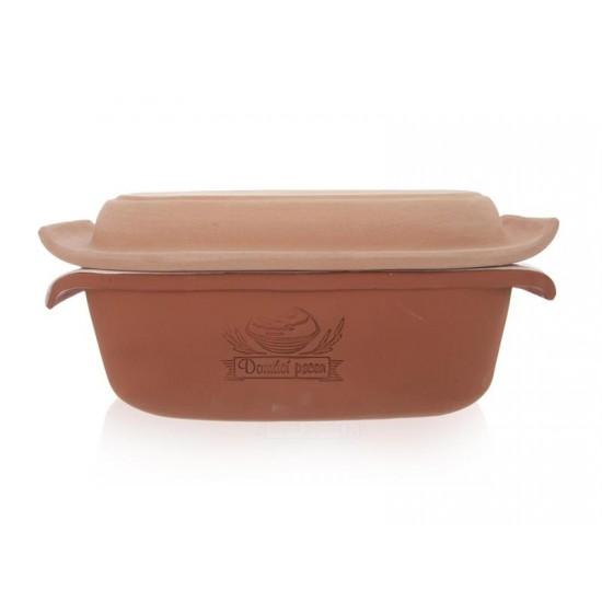 Forma na pečenie chleba ORION 33x16 cm s vekom keramika hnedá